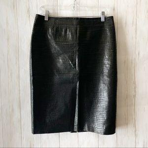 Newport News Black Snake Embossed Leather Skirt 6